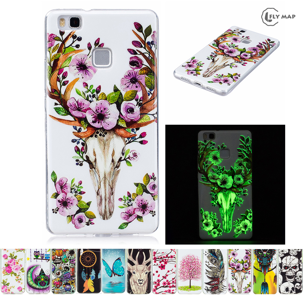 Luminous case for Huawei P9 Lite P9Lite VNS-L21 VNS-L31 Soft Silicone Floral Protect Cov ...