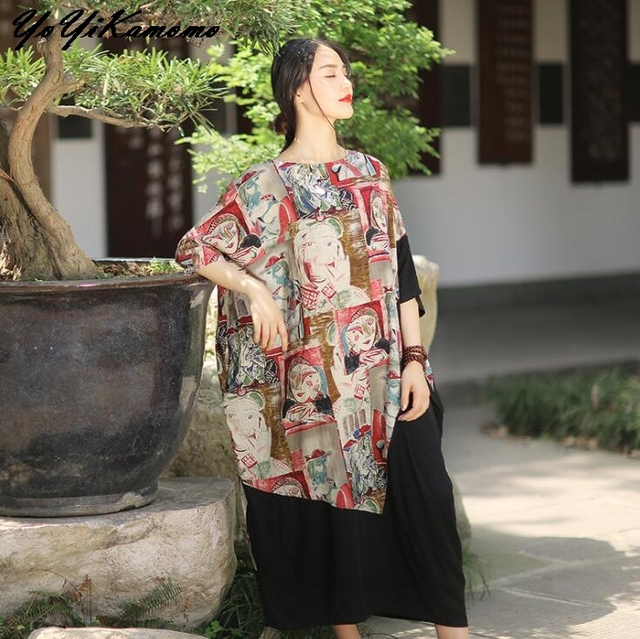 YoYiKamomo 2017 Femmes Robe Grande Taille Vintage Coton Lin New Original  Robe Lâche Femmes Robe