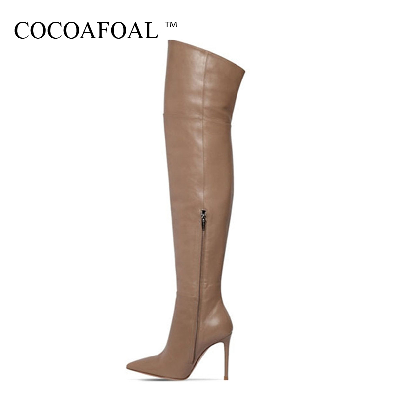 цена COCOAFOAL Women's Thigh High Boots Sexy Winter Woman High Heel Shoes Pointed Toe Plus Size 33 43 Sexy Over The Knee Boots 2018