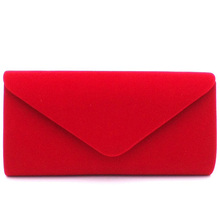 Elegant High Quality Suede Female solid Women evening bags hot selling girl wedding party handbag noble prom chain shoulder bag