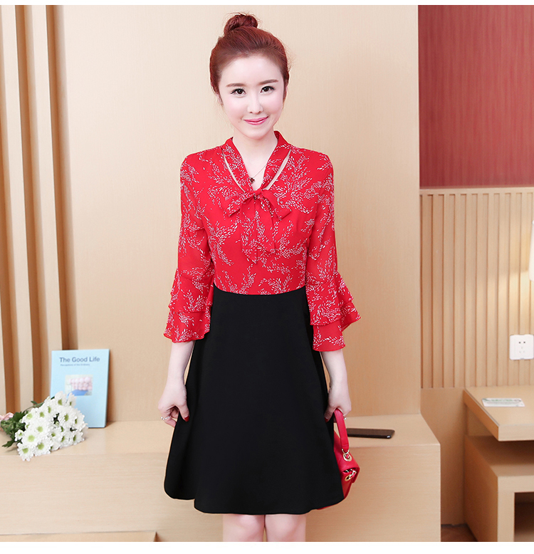 L-5XL Plus Size Women Floral Print Dress Summer 2019 Korean Bow V-neck Ruffle Flare Sleeve Chiffon Patchwork A-Line Dresses 15