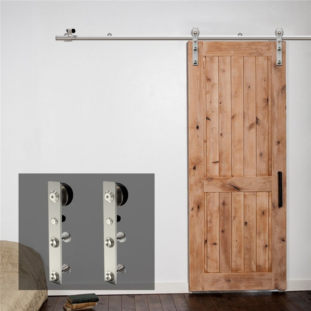 LWZH 10-16 FT J-Shaped Silver Modern Stainless Steel Puerta Corredera Wooden and Glass Sliding Door Hardware Kit for Single Door