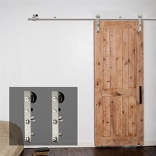 LWZH 10-16 FT J-Shaped Silver Modern Stainless Steel Puerta Corredera Wooden and Glass Sliding Door Hardware Kit for Single