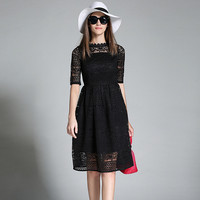 Women Embroidery Black Lace Dress Vestidos Verano 2017 Summer Dresses Casual Short Sleeved Red Casual Dress