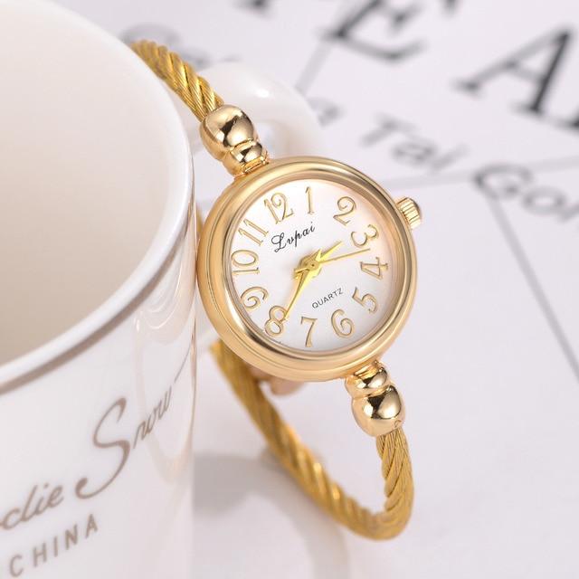 Lvpai Simple Women Watches Small Gold Bangle Bracelet Luxury Watche 2018 Fashion Brand Roman Dial Retro Ladies Wristwatches Gift