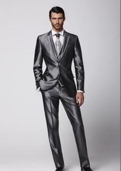 Custom Made Groom Tuxedo Groomsmen Shiny Gray Wedding/Dinner/Evening Suits Best Man Bridegroom (Jacket+Pants+Tie+Vest) B26