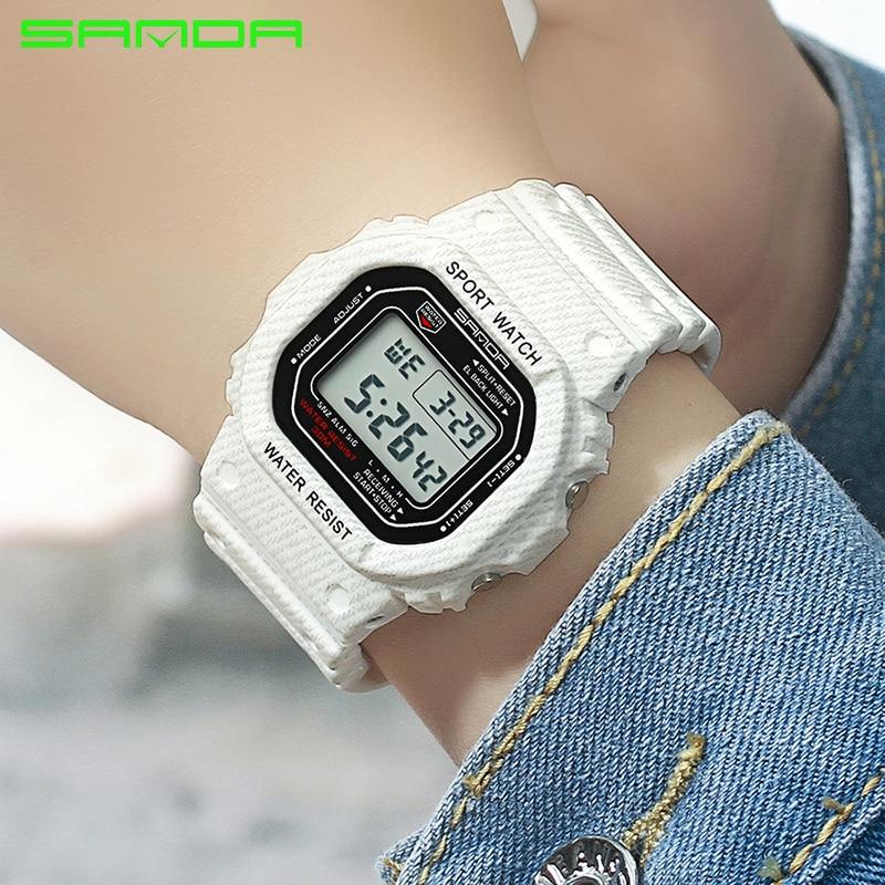 цена 2018 SANDA Waterproof Sport Watches Women Luxury LED Electronic Digital Watch Ladies Clock Female relogio feminino reloj mujer