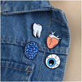 Gothic Enameled Brain/Eye Ball/Tooth/Heart Lapel Pins For Women Fashion Clothing  Jewelry Unique Design Handmade Brooches
