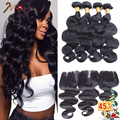 KBL Brazilian Virgin Hair with Closure 8A Unprocessed Virgin Brazilian Hair Body Wave 3 Bundles with Lace Closure Bleached Knots