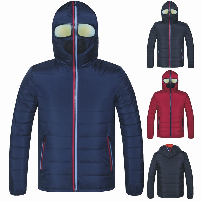 New Winter Men's Windproof Jacket with Glasses Male Wadded Thick Warm Coat Zip Hooded Coat Brand Clothes   Parka   Quilted Jacket