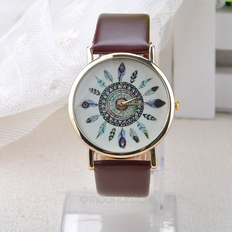 881180502 Womens Vintage Indian Feather Dial Leather Quartz Analog Unique Wrist  Watches Peacock Ladies Watch Clock Relogio-in Women s Watches from Watches  on ...