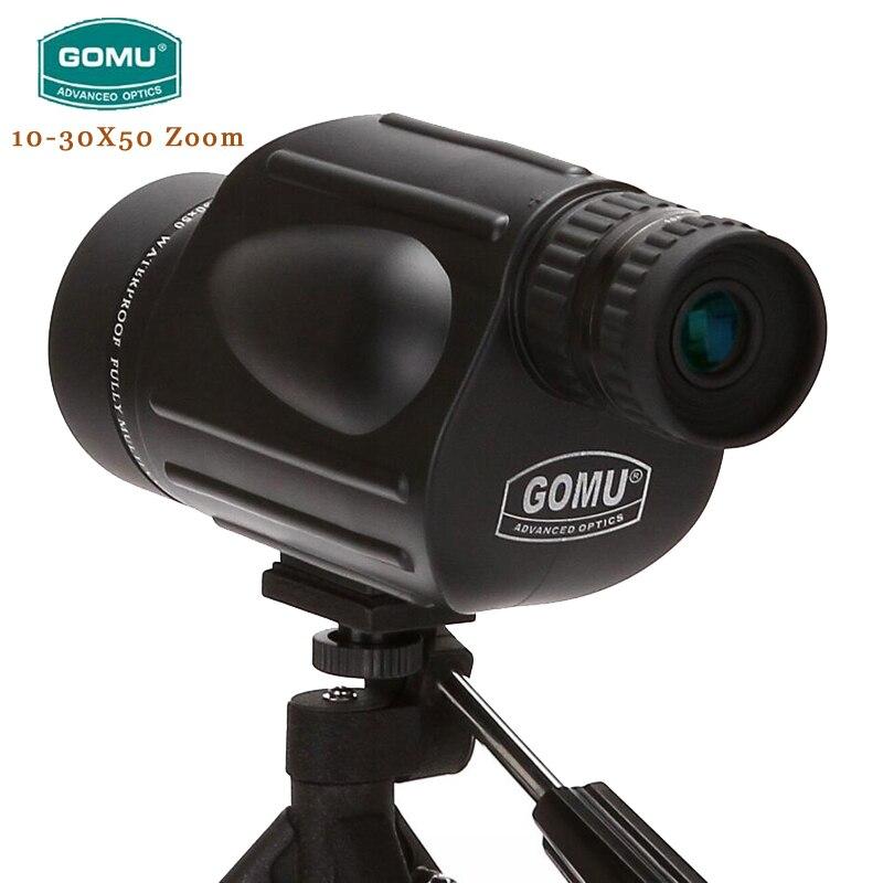 Gomu 10-30X50 HD zoom télescope étanche avec Bak4 prisme FMC télescope monoculaire Brid montre jumelles pour la chasse