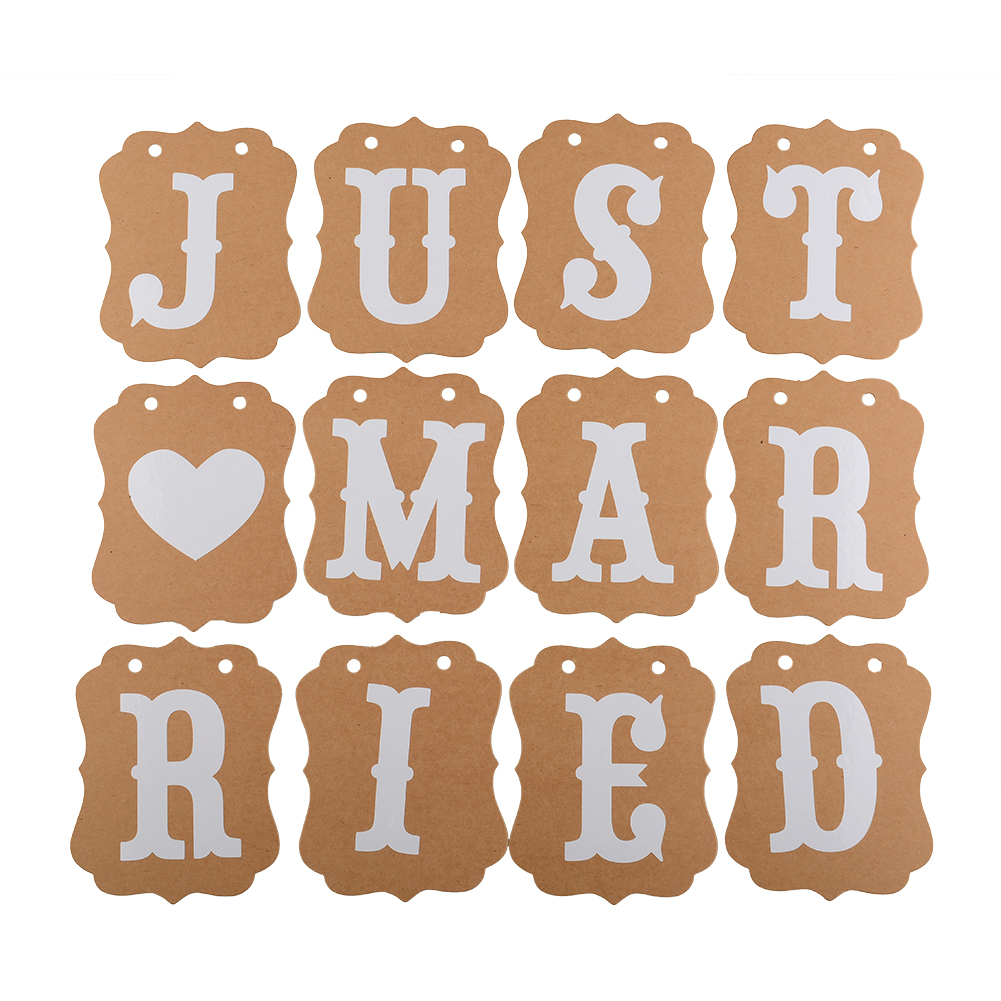 Just Married Vintage Wedding Bunting Banner Party Decorations Photo Booth Props Garland Bridal Shower Decorative In Diy