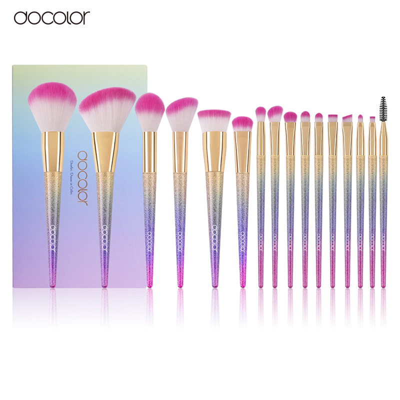 Docolor new pro 16pcs cosmetic makeup brushes set blush powder foundation eyeshadow eyeliner lip make up brush beauty tools maqu купить