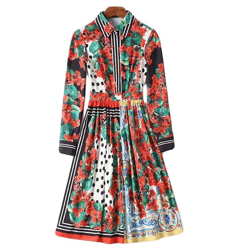 XF 2019 printemps et été modèles Designer bohème rétro points femmes robes fête décontracté Milan piste taille haute Slim robe