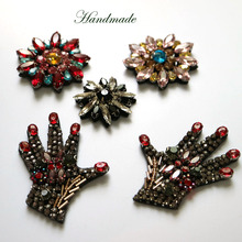 1pc 3D Handmade hand round beaded Patches for clothing DIY sew on sequin rhinestone parches Beaded appliques hats bags