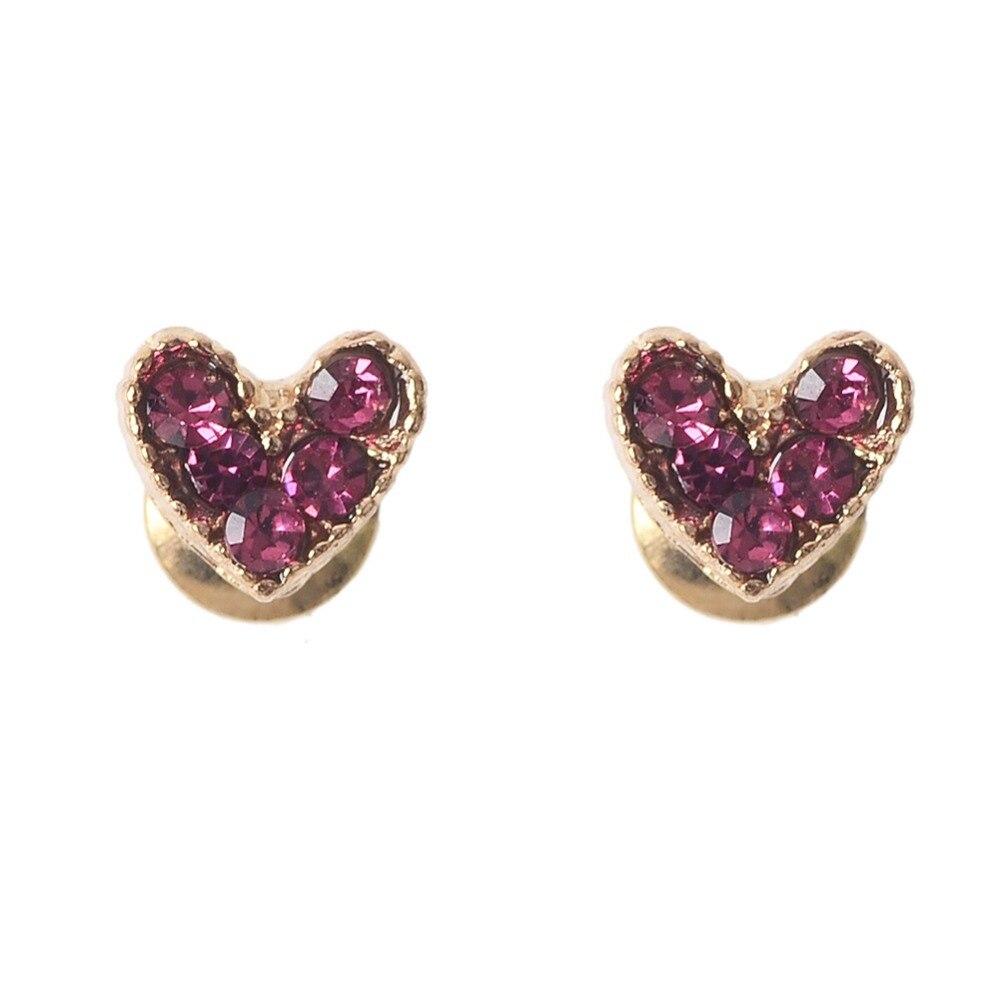Hot Sale Heart Earring For Girl Crystal Stud Earrings Geometric Rhinestone Minimalist Women Jewelry