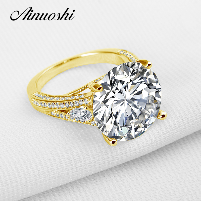 AINUOSHI 10K Solid Yellow Gold Wedding Ring Luxury Brilliant 13 ct Round Lab Grown Diamond Jewelry Engagement Rings for Women aeaw lab grown diamond moissanites engagement bangle solid 10k white gold bracelets for women wedding fine jewelry