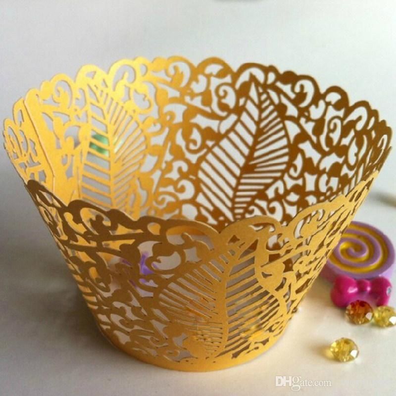 120pcs lot Party Feast Cake Surrounding Edge Cupcake Biscuit Packing Hollow Leaves Design Laser Cut Paper Wrapper wc548 in Cake Decorating Supplies from Home Garden
