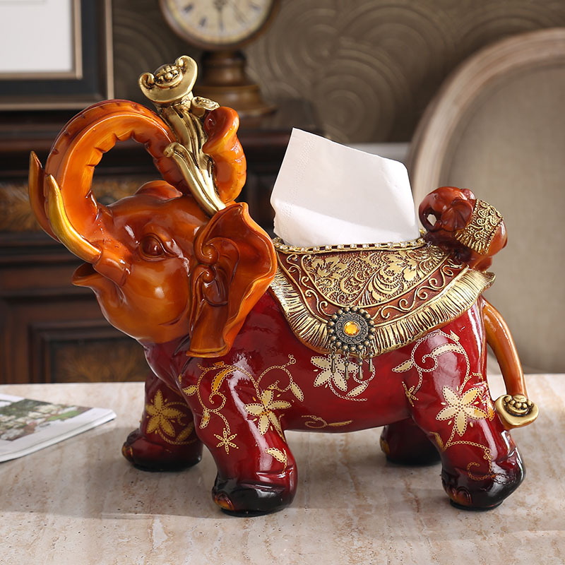 drawing paper towel box napkin box luxury living room table elephant Home Furnishing high-grade resin jewelry ornaments