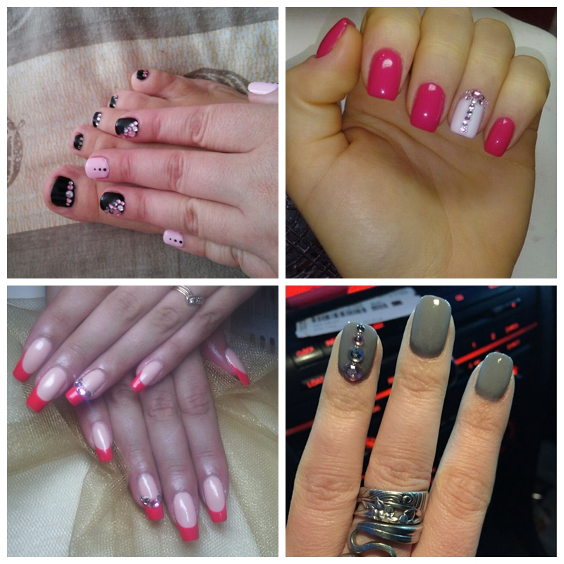 3D Nail Art Decorations White Pink Grey Women Glitters Diy ...