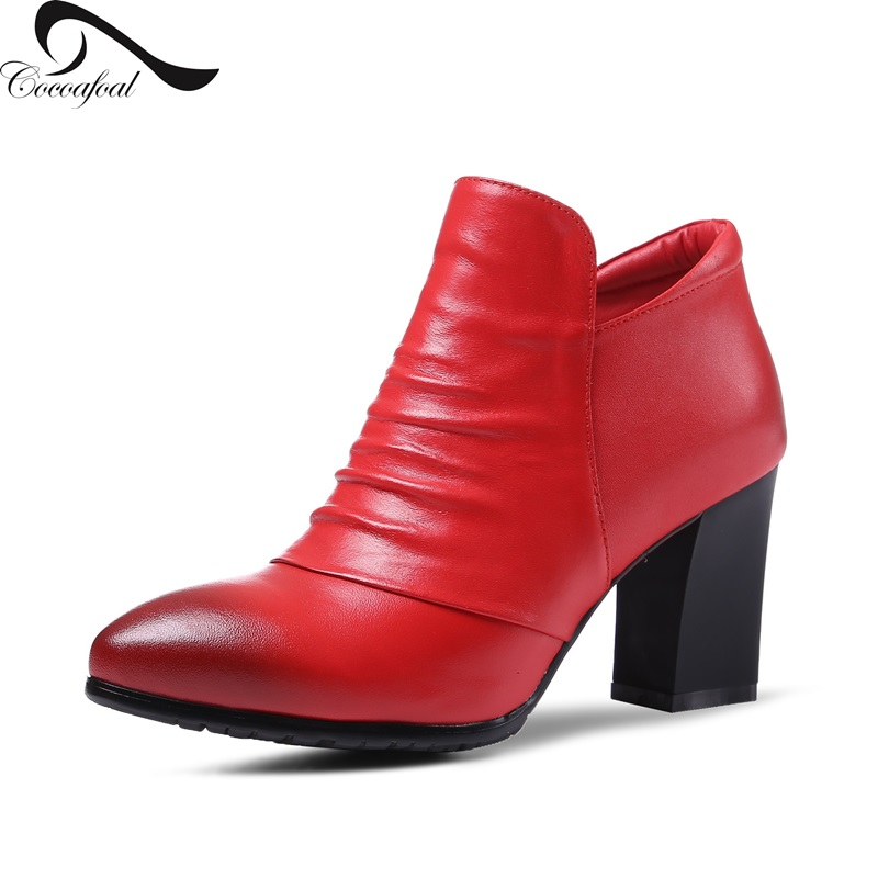 ФОТО 2017 Genuine leather Platform temperament Short boots Major suit Women Ankle Boots Rough with Natural leather newest Short boots