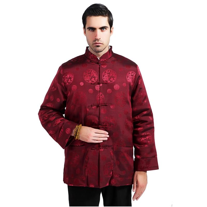 Burgundy Winter Men Cotton-Padded Thicken Jacket Chinese Traditional Silk Satin Coat Overcoat Outwear Size M L XL XXL XXXL MS127
