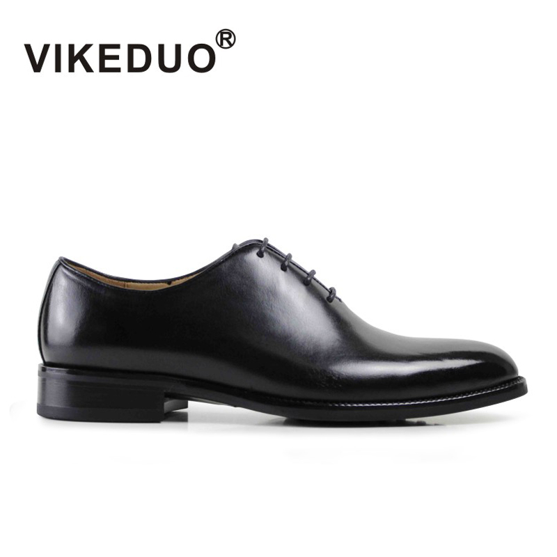 Vikeduo Men s Formal Oxford Shoes Genuine Leather Black Fashion Office Wedding Business Male Dress Shoes