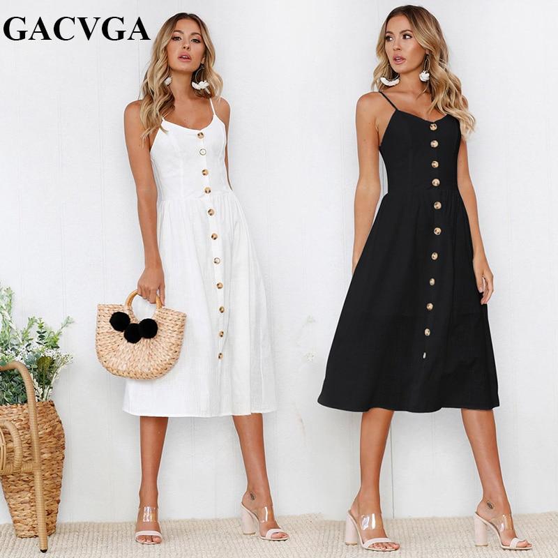 GACVGA Striped button sexy casual summer strap dress Long boho beach pockets women white/black vestidos Elegant daily dess