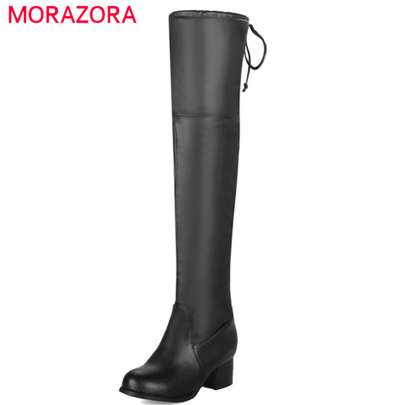 MORAZORA 2018 hot sale new shoes woman thigh high over the knee boots women round toe autumn winter high heels boots black brand new high heels boots hot sale high boots platform women shoes thin round toe lace up boot high over the knee boots 293