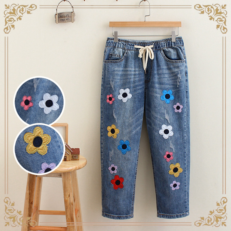 autumn   new lacing   embroidered flowers washed large size women curling cowboy  mid-calf  length pants karen kane new women s size large l navy red embroidered tie front blouse $119
