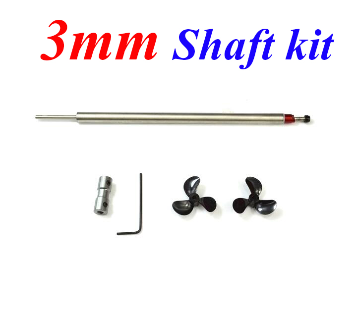 Free Shipping 3mm RC Boat shaft assembly stainless steel shaft with propeller kit set for RC Boat deep V yacht  free shipping 4mm flexible soft shaft propeller assembly for rc boat model 3 8mm