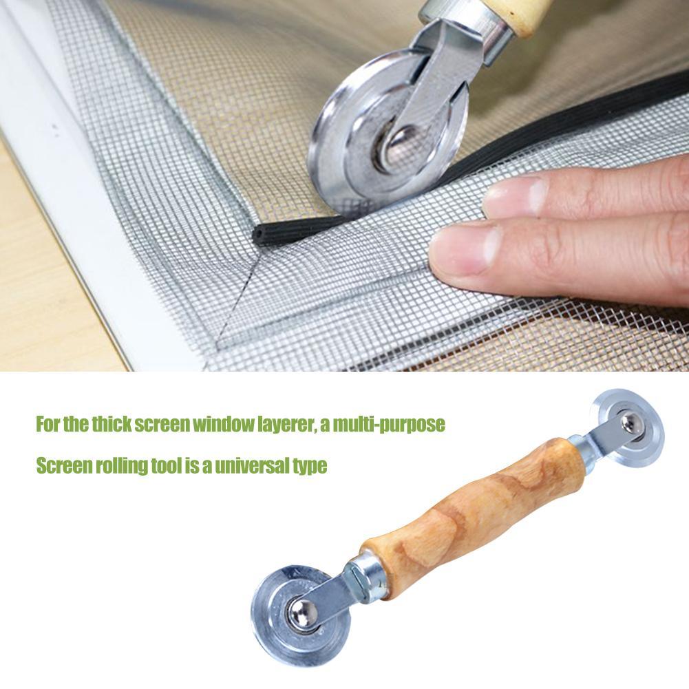 Wooden Handle And Steel Wheels Rolling Tool Double Window Installation Hand Spline Roller Household Durable Screen Door