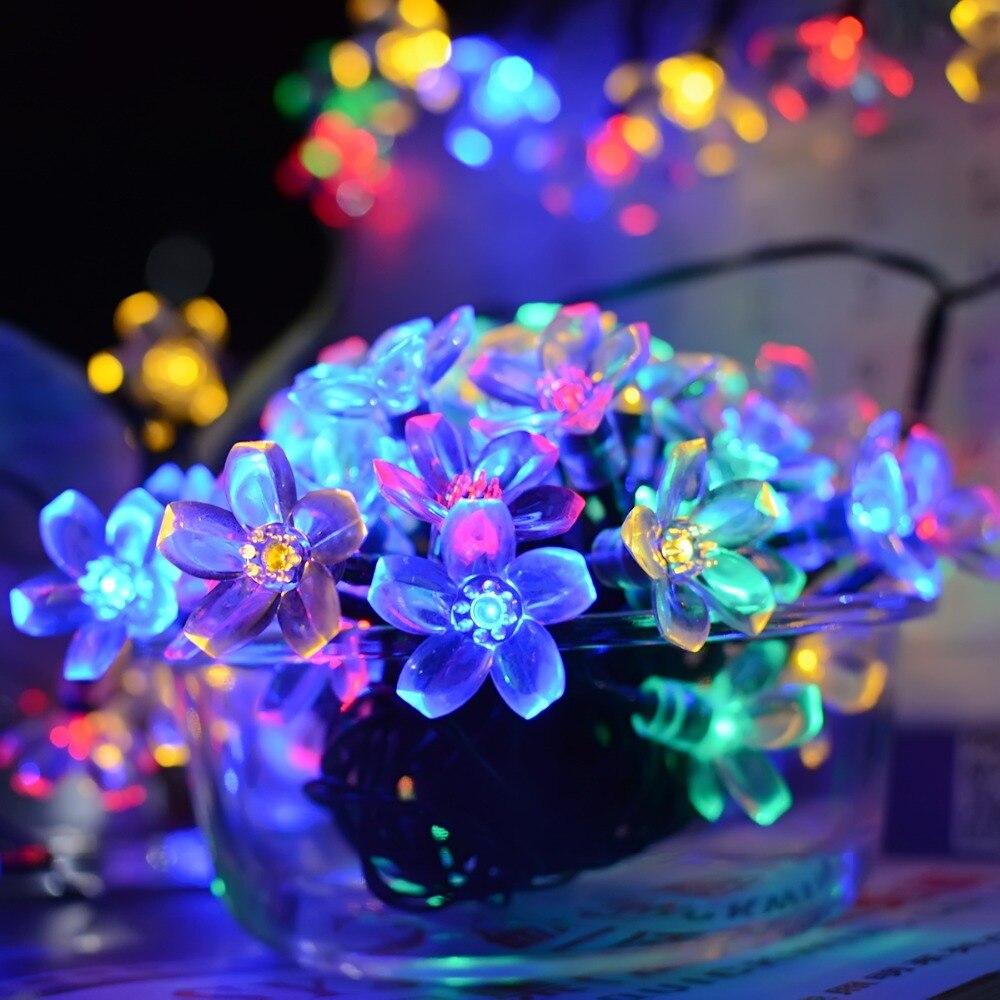 30/50LED Solar Led String Light Christmas Patio Lights Solar Fairy Lights Powered Peach  ...