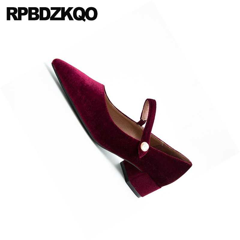 ... Pointed Low Heels Bridal Shoes Mary Jane Size 4 34 Chunky Wine Red  Wedding Evening Velvet ... 8bce0d24c13c
