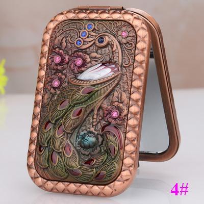Rectángulo redondeado de aleación de mini portátil plegable pavo real rojo de doble cara cosméticos/maquillaje (caja de embalaje)