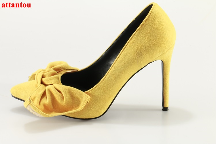 Luxury woman high heels yellow suede pumps thin heel butterfly-knot party wedding dress shoes pointed toe slip-on female shoes