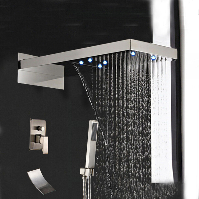 Led Brushed Nickel Waterfall Rain Shower Faucet Tub Spout Hand Set Mixer