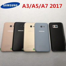 Back Glass + Camera glass For Samsung Galaxy A3/A5/A7 2017 A320 A520 A720 Back Battery Glass Cover Rear Door Housing Case(China)