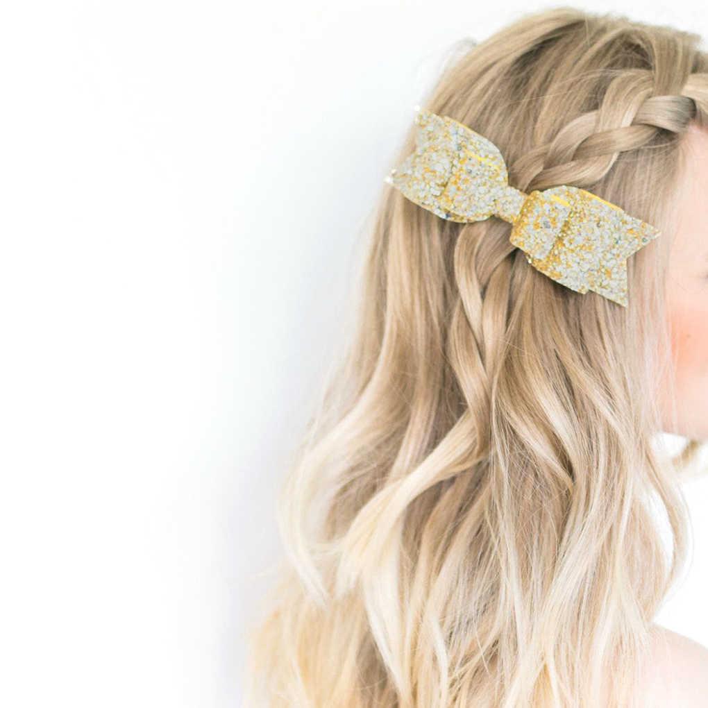 Заколка в виде бантика блестящая заколка для волос для девочек Детская Праздничная Клубная головной убор повязка на голову