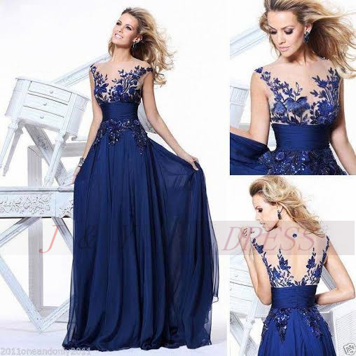 6d3f79ce18 Long Lace Elegant Evening Dresses Party 2016 Sale Stock Chiffon Royal Blue  Runway Prom Fast Shipping Red Carpet Formal Gowns-in Evening Dresses from  ...