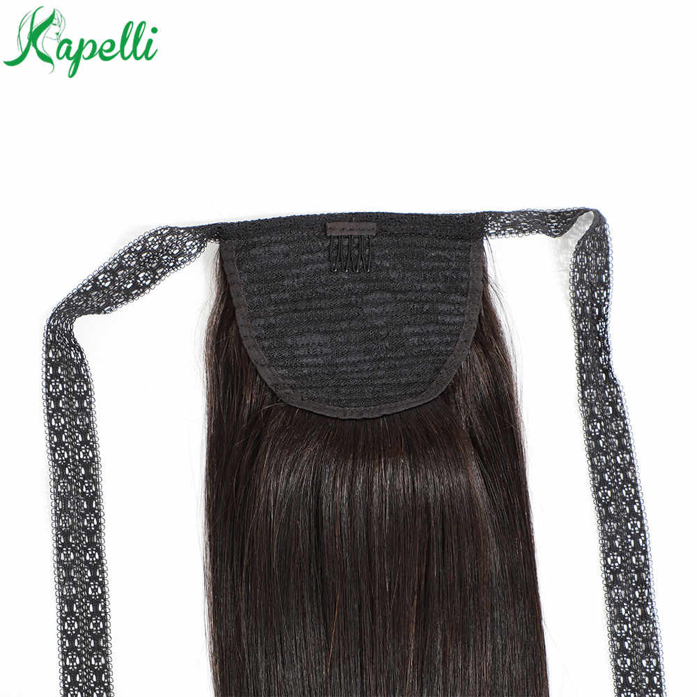 Straight Ponytail 100% Human Hair Weave Lace Ribbon Ponytail With Clips in Extensions For Women Brazilian Remy Hair 1 Piece