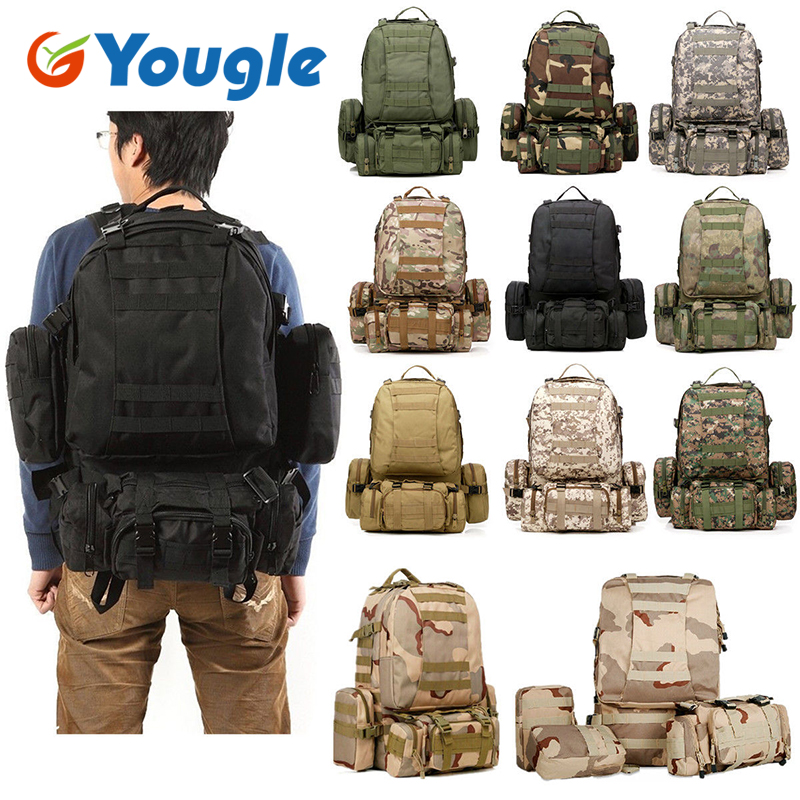 YOUGLE 50L Molle Tactical Outdoor Assault Military Rucksacks Backpack Camping Bag New new 50l molle high capacity tactical backpack assault outdoor military rucksacks backpack camping hunting bag