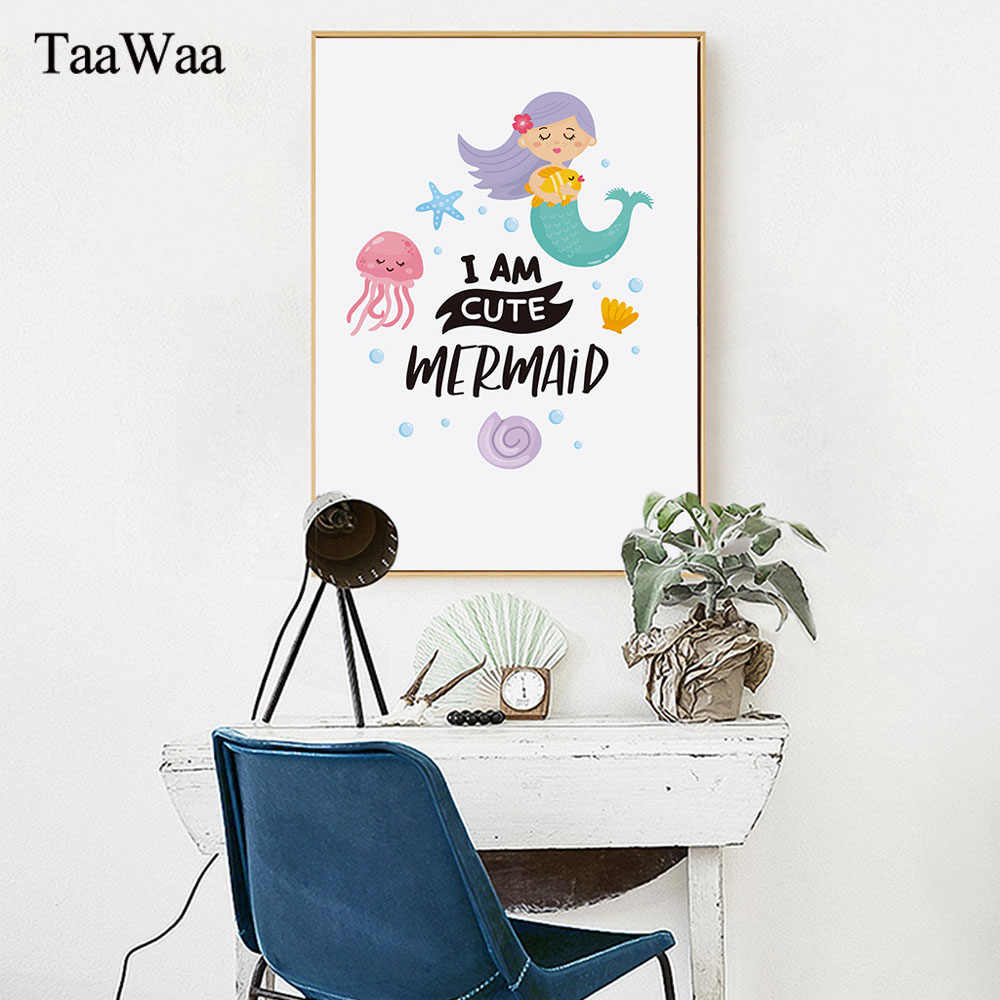 TAAWAA Mermaid Poster Quote Nordic Style Abstract Painting Wall Art Canvas Print Decorative Picture for Baby Room Decoration