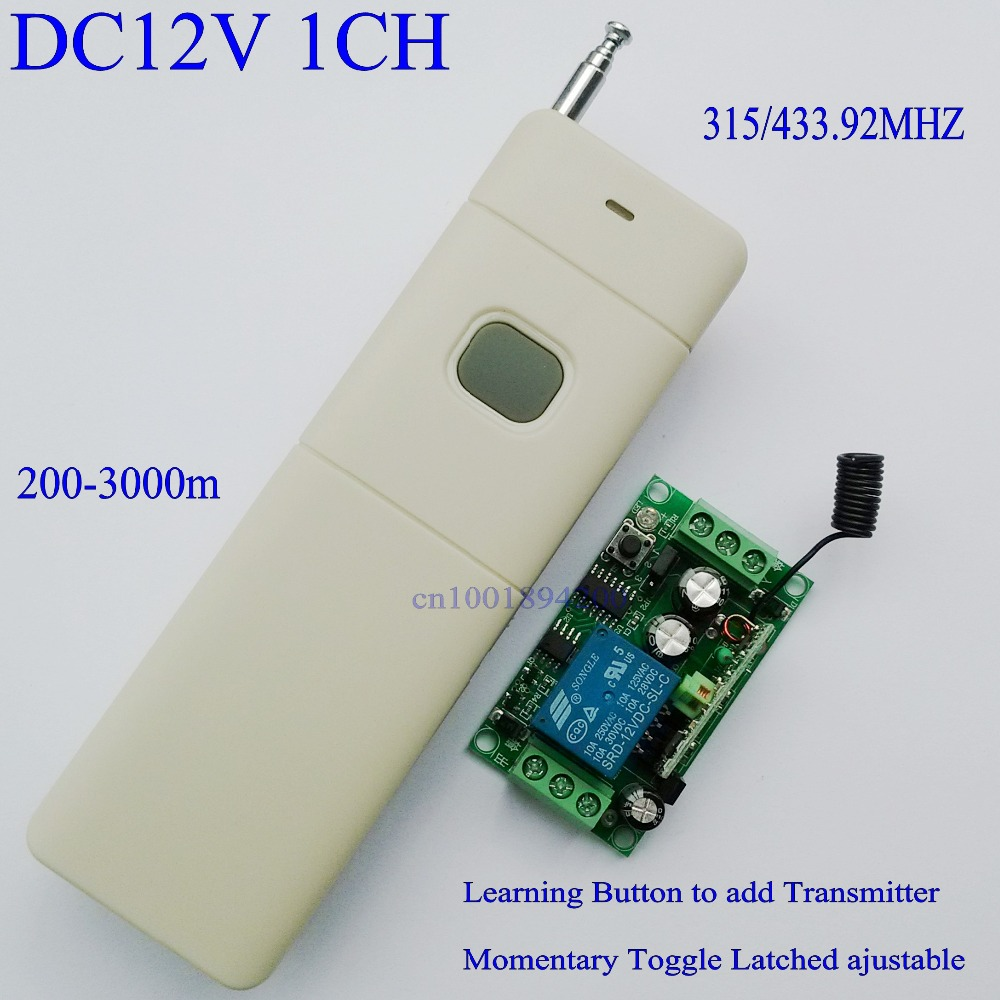 12v DC RF Wireless Remote Control Switch 1CH 10A Relay Light Lamp LED Power Remote Switch Door Access Controller RX TX 200-3000m dc24v remote control switch system1receiver