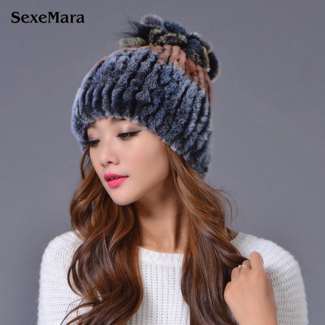 2016 Nova Lã De Pêlo De Coelho Real Malha Fur Hat Caps Famale Chapéu Do inverno Mulheres Chapéu Bonnet Femme Hiver Gorros Chapéu de Proteção de Orelha Cap