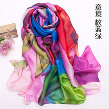 Paintint Fashion Young Good silk feeling Material Satin Chiffon Scarf All-season Match DMXF1