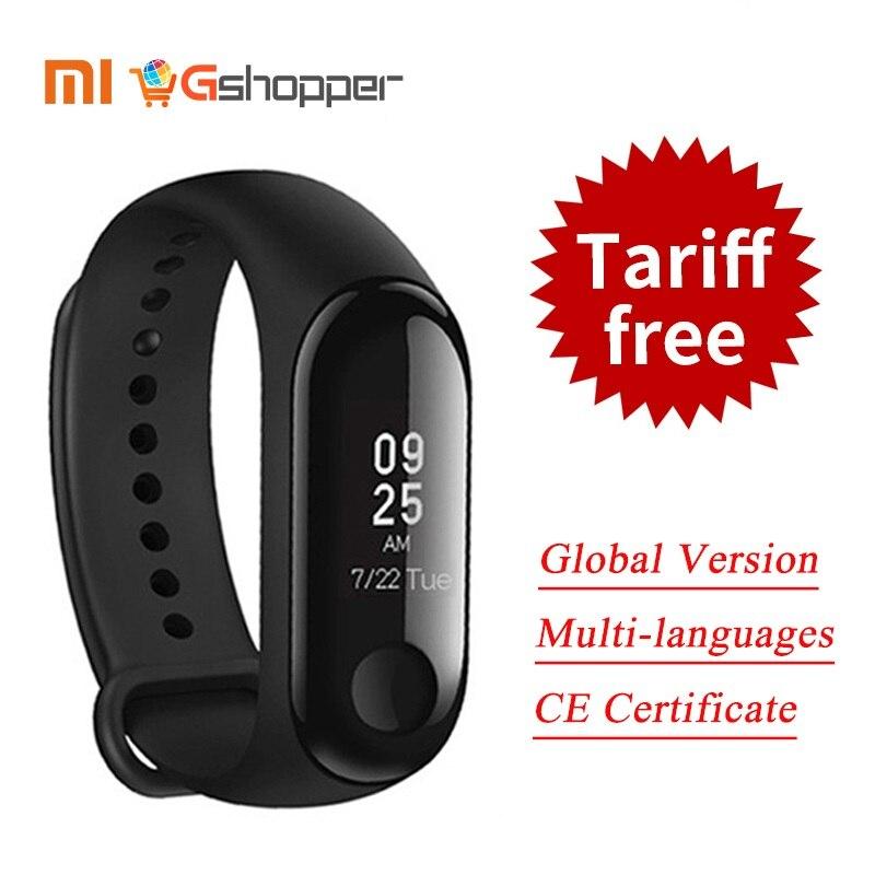 2018 Version mondiale nouveau Original Xiao mi mi bande 3 Bracelet intelligent noir 0.78 pouce OLED Message instantané appel météo prévision