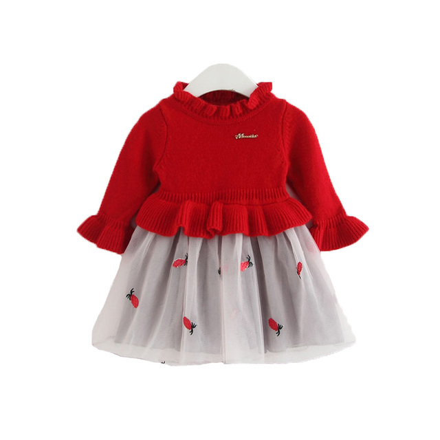 af4d1b7d9b56 Baby Clothes Christmas Baby Girl Clothes Knit Dress Kids Party Wedding Embroidery  Pineapple Tulle Dresses 0-2T red yellow