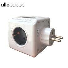 Allocacoc Мощность Cube умная розетка de ЕС Plug 5 Розетки адаптер Мощность расширение полосы адаптер multi включается гнездо 250 В 16A серый